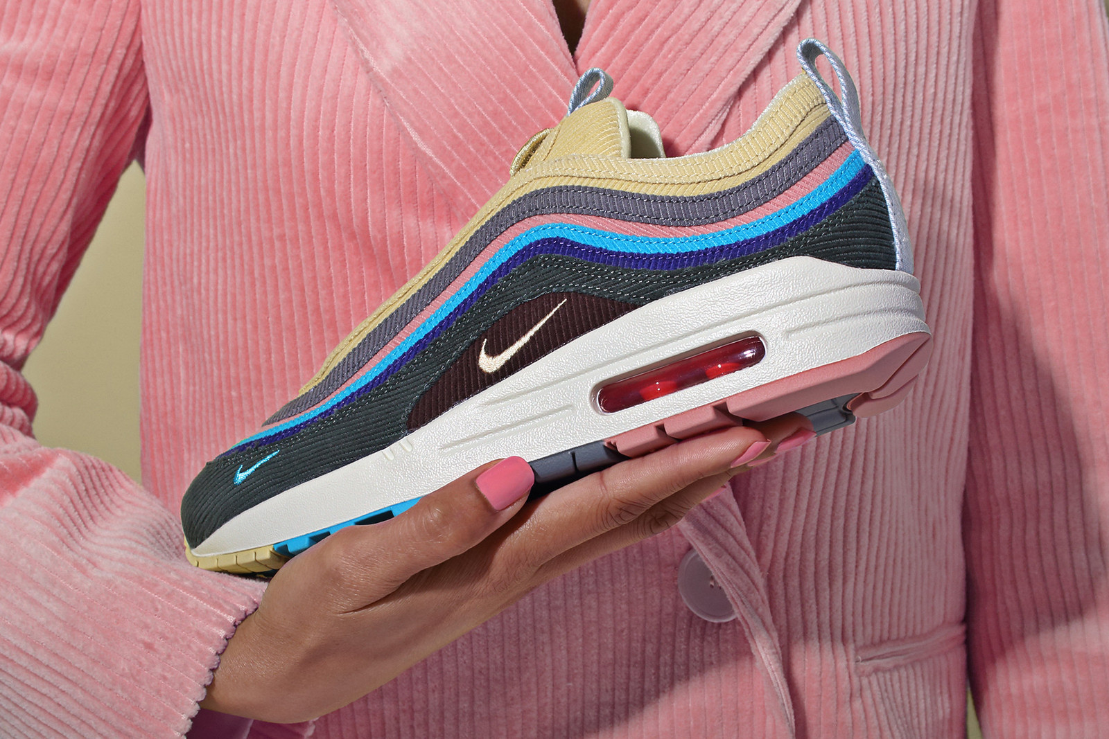 pink blue and yellow air max 97