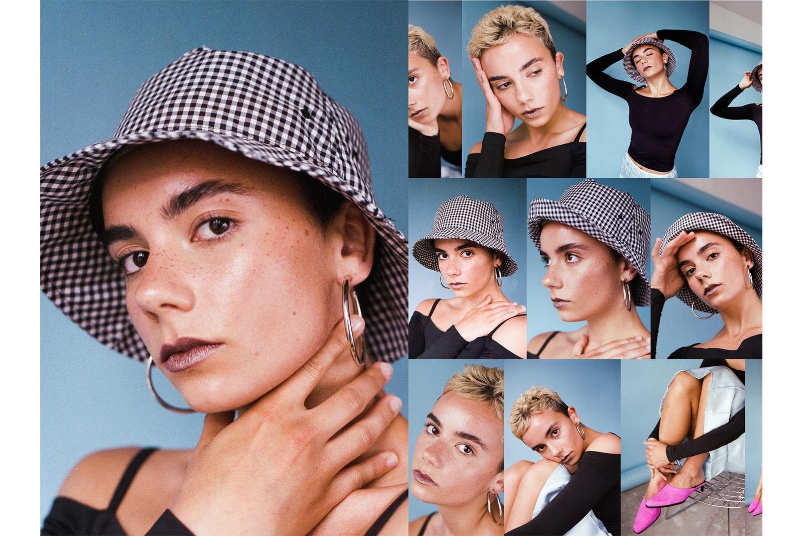 Too Faced Melted Matte-tallic Metallic Lipstick Editorial smoky eye blonde short hair model clear earrings
