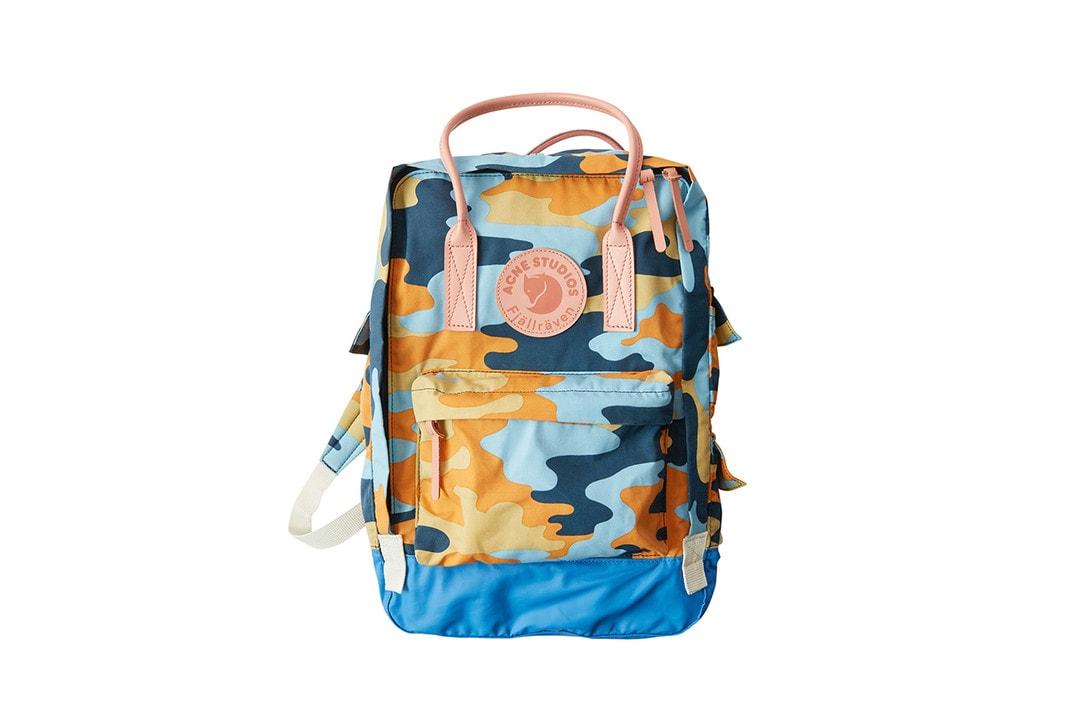 Acne Studios x Fjallraven Collaboration Collection Lookbook T-shirt Yellow Kanken Backpack Deep Orange Clutch Blue