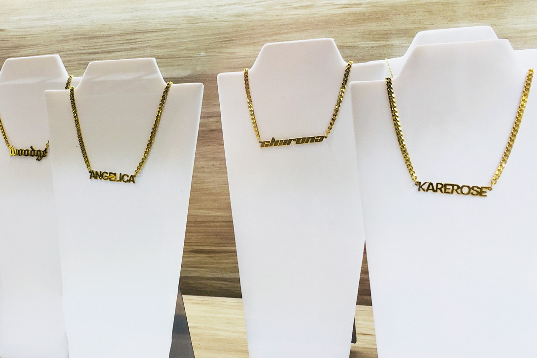 Jane Top Jewelry Nameplate Necklaces Earrings Gold Silver