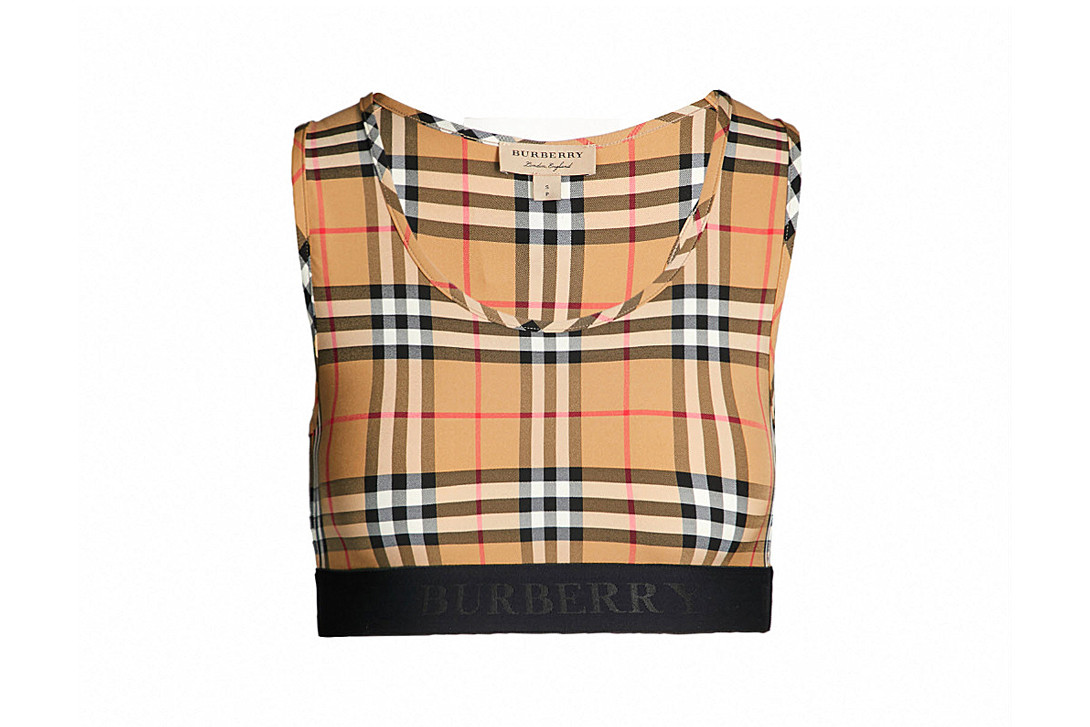 Burberry Dalby Checked Stretch Jersey Sports Bra Antique Yellow Check