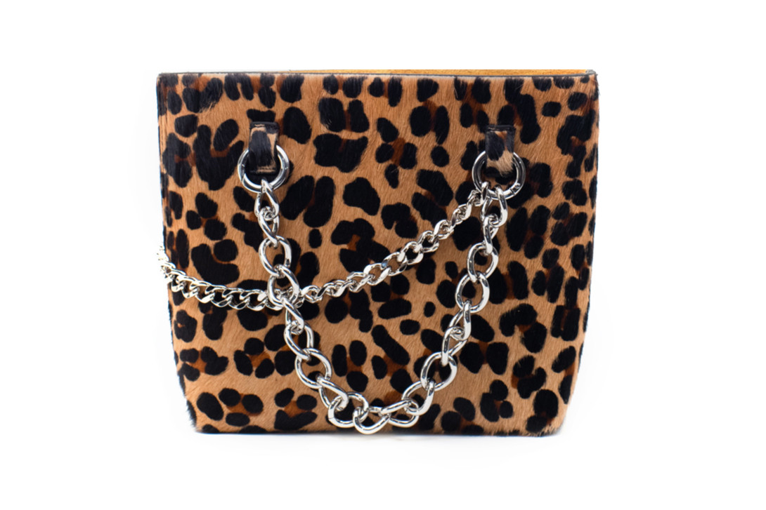 Janis Studios Darka Leopard Handbag Nickle Chain Gold Hoop Rope Handle