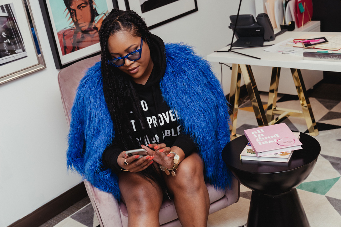 Karleen Roy Celebrity Event Planner Career Interview The Vanity Group Diddy Cardi B Migos Rick Ross Hoodie Black Jacket Blue