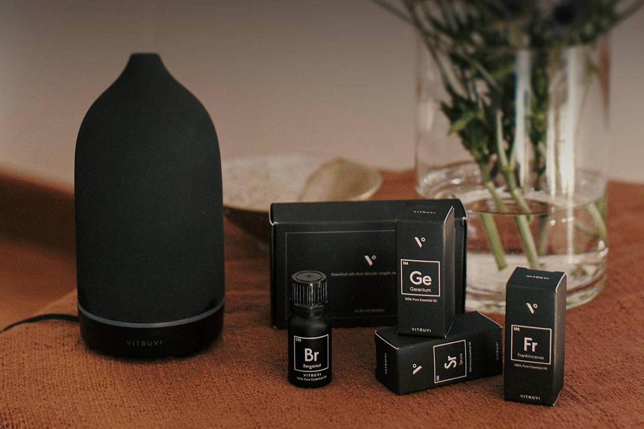 vitruvi Essential Oils Stone Diffuser Natural Light Lifestyle Living Room Home