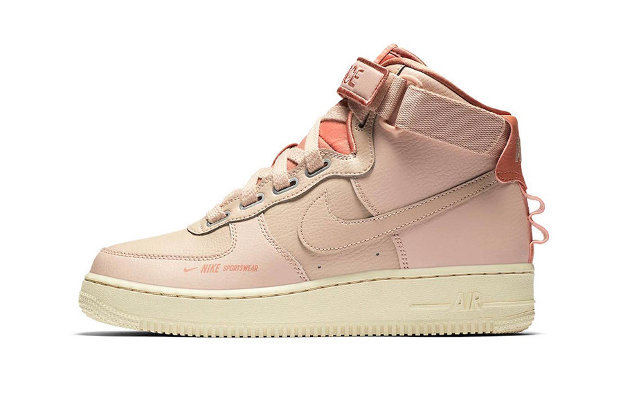 nike air force 1 high utility white light cream leather force is female velcro strap
