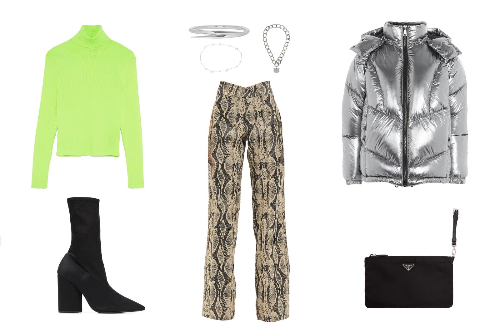 How To Style Neon Trend Outfit Inspiration Goals Zara Neon Green Turtleneck Yeezy I am GIA alexander Wang Prada Miu Miu