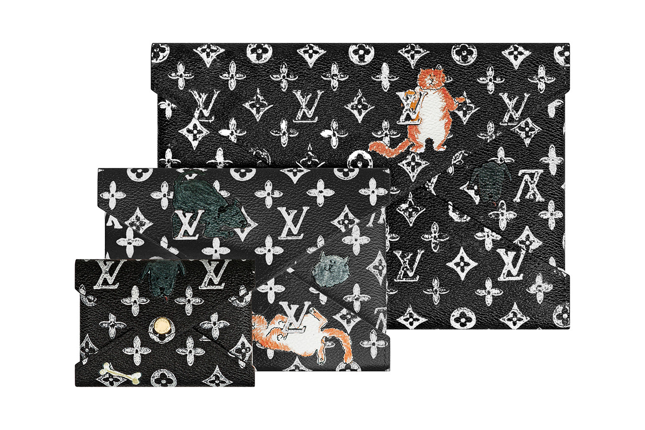 Grace Coddington Louis Vuitton Cruise 2019 Crossbody Bag Monogram LV Cats Brown Clutch Pouch White Black