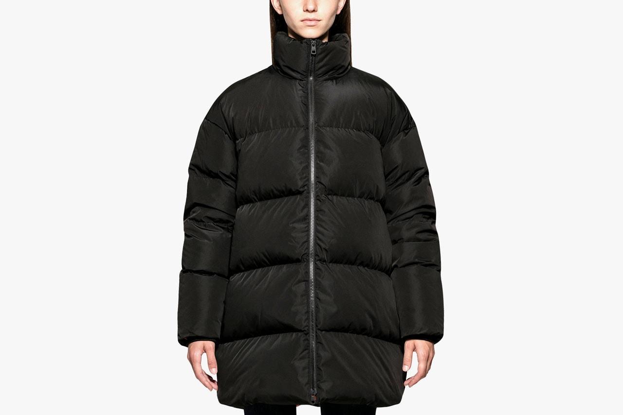 Black Shiny Puffer Coat Balenciaga Wallet Pouch
