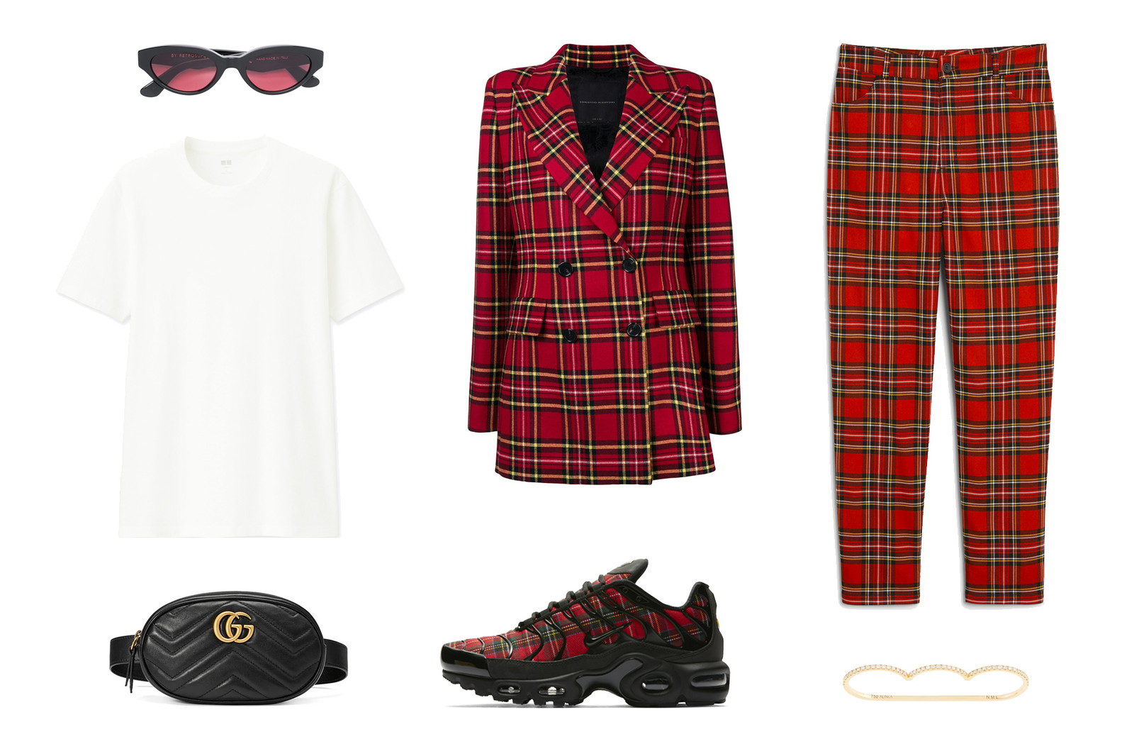 Red Tartan Print Sneaker Nike Gucci Suit Look How To Style Inspiration Fashion Outfit Inspo Blazer Trousers
