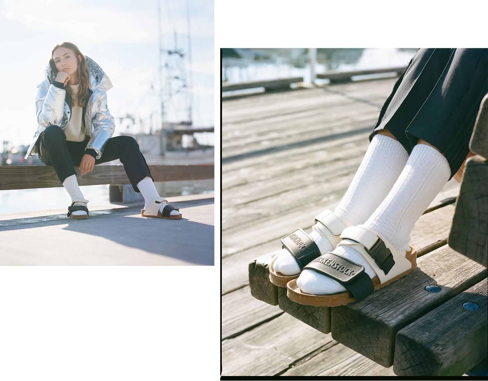 Birkenstock Rick Owens Sandals Spring Summer 2019 Victoria Beckham White Cashmere Sweater Kenzo Silver Puffer Jacket Metallic MM6 Maison Margiela Pants Black