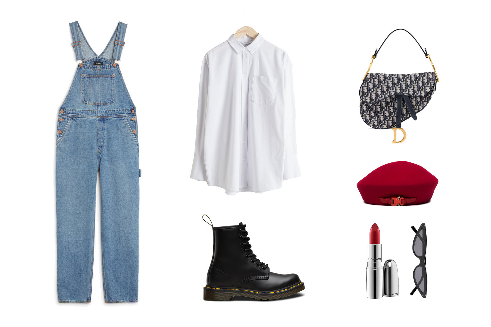 Blue Denim Dungarees Overalls Dior Dr Martens Outfit Inspiration Look Fashion Monki Mac