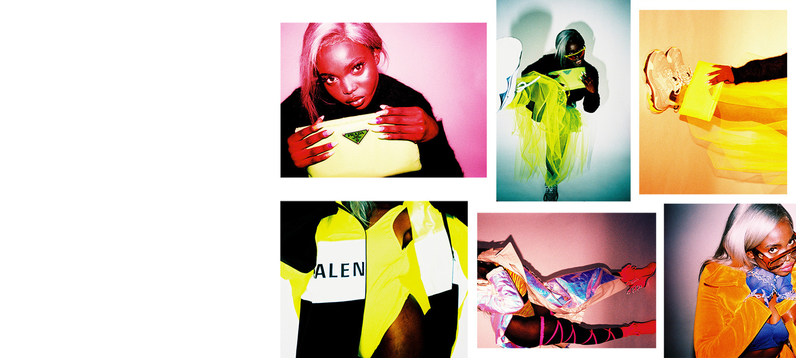Neon Color Trend Fall Winter 2018 Editorial Prada Clutch Flame Sweater Balenciaga Triple S Sneakers Tulle Skirt Black Model Silver Hair Kenza