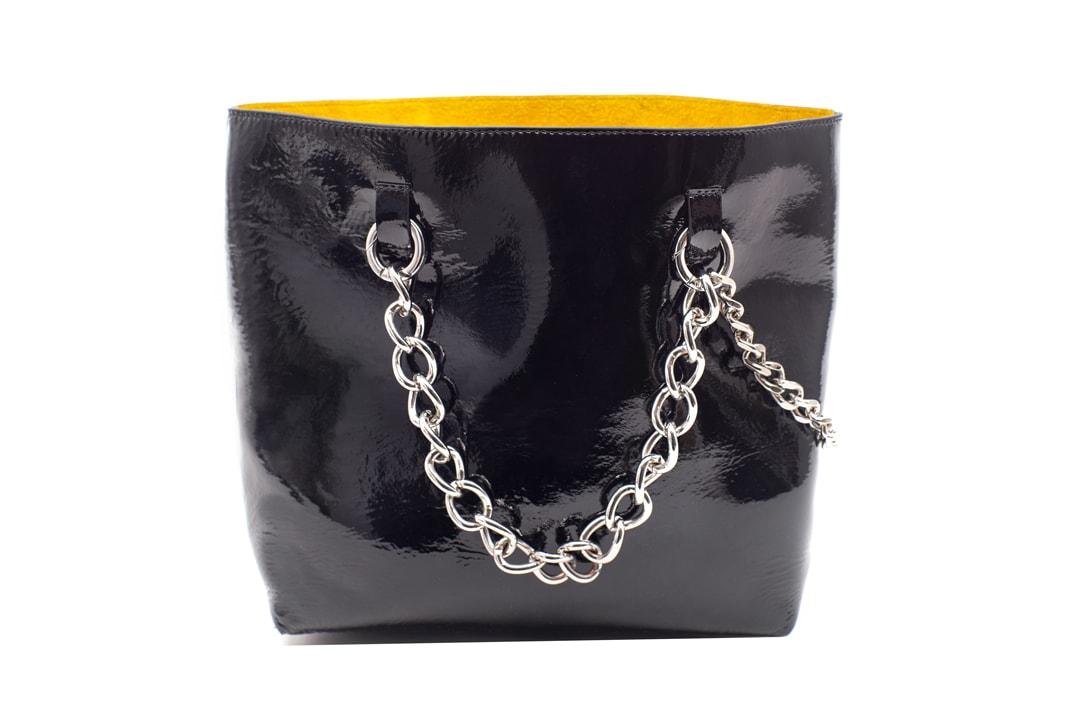 Janis Studios Darka Patent Bag Bamboo Handle Chain Black