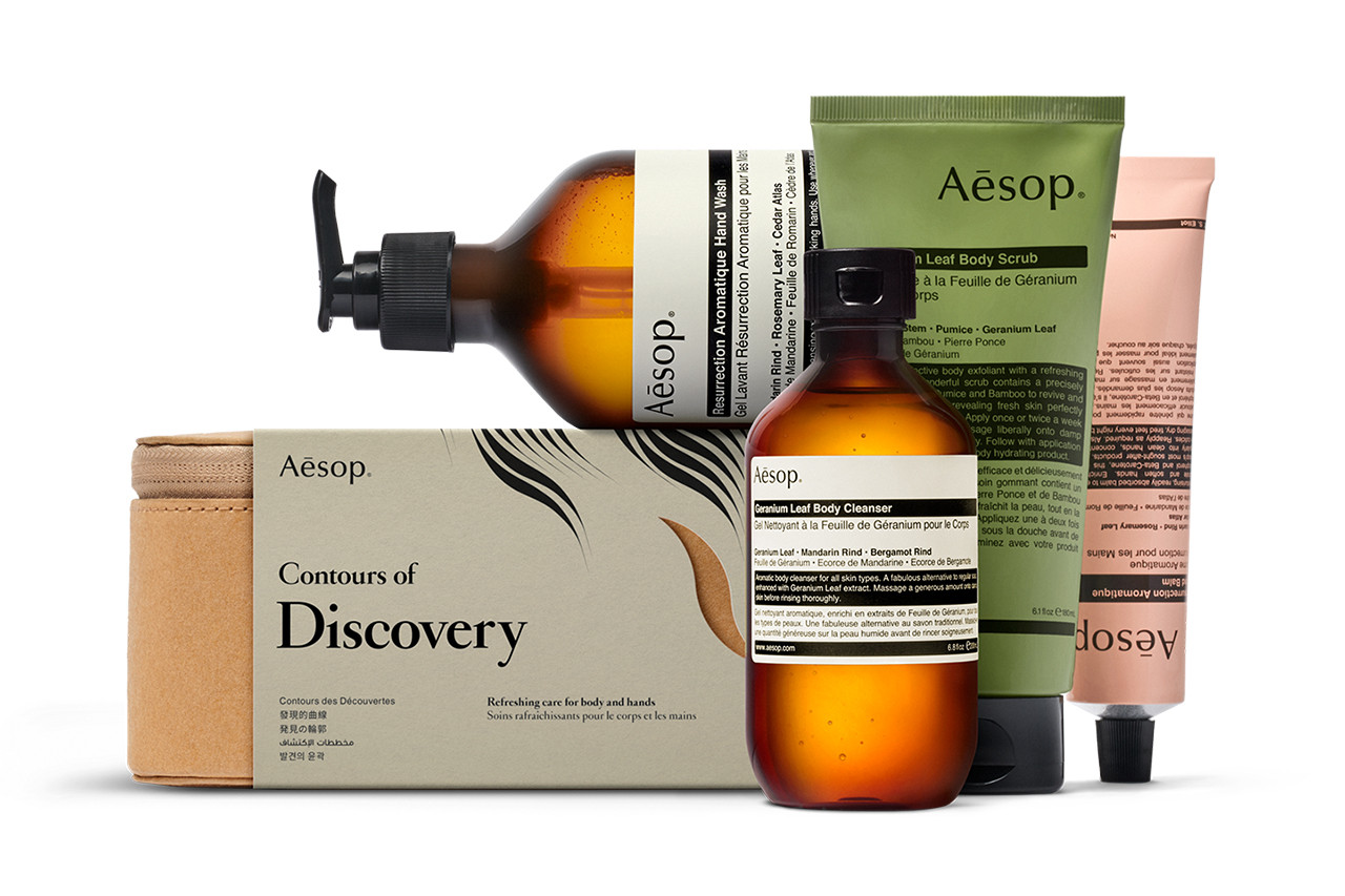 Aesop Iris Van Herpen Christmas Gift Set Atlas of Attraction Contours of Discovery Resurrection Aromatique Hand Wash Resurrection Aromatique Hand Balm Geranium Leaf Body Scrub Geranium Leaf Body Cleanser
