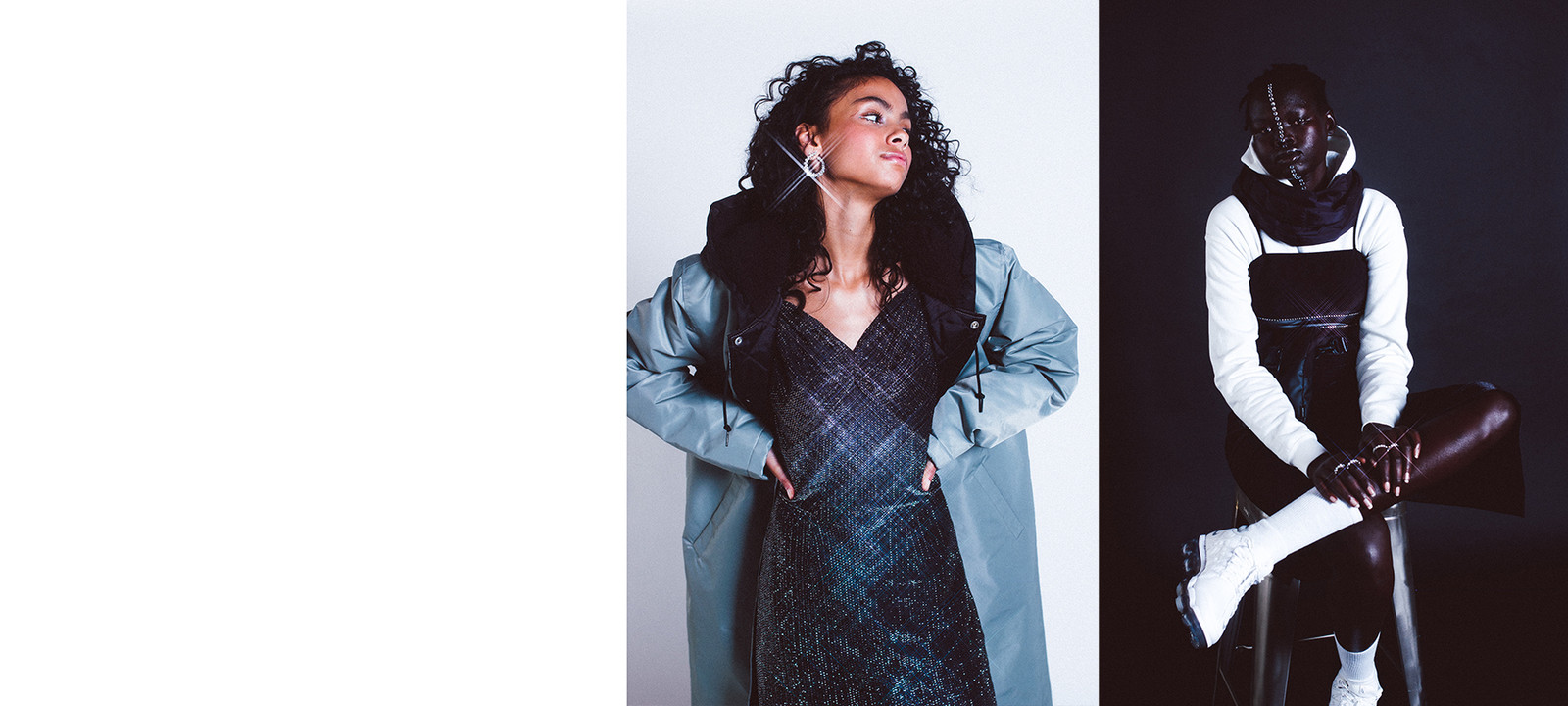 Stussy green coat black dress sandals mules heels AIYA Jewels earrings New Year's Eve Holiday Party Outfit Ideas Inspo Editorial Tianna Franks Maya Gatensby Family Management Vancouver