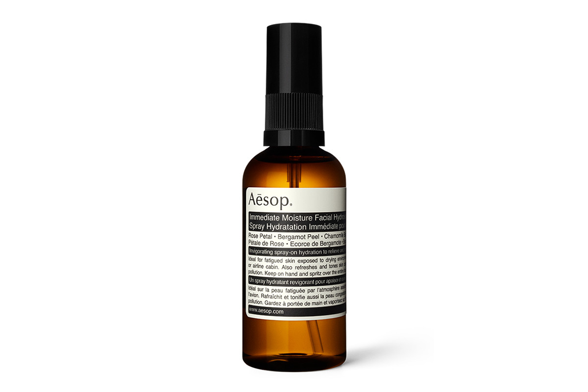 Aesop Immediate Moisture Facial Hydrosol Face Mist Spray Gelcream Travel Skincare Essentials Long Haul Flight Plane Window Seat Beauty