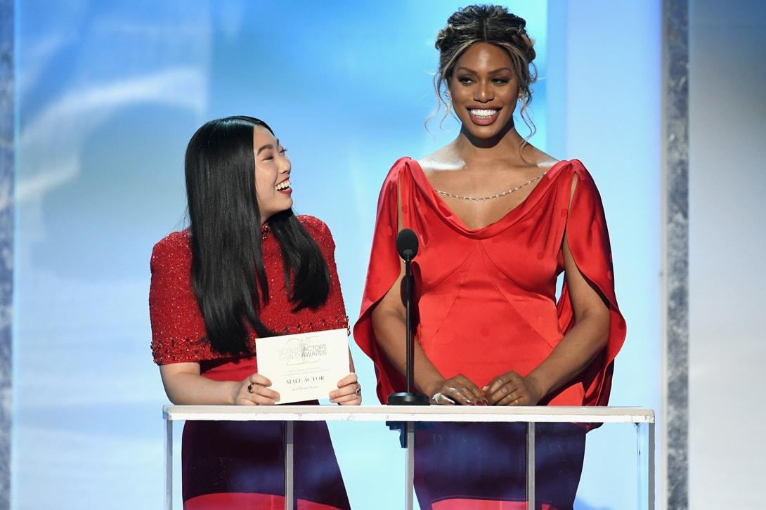 Awkwafina SAG Awards 2019 Mimi Plange Dress Red