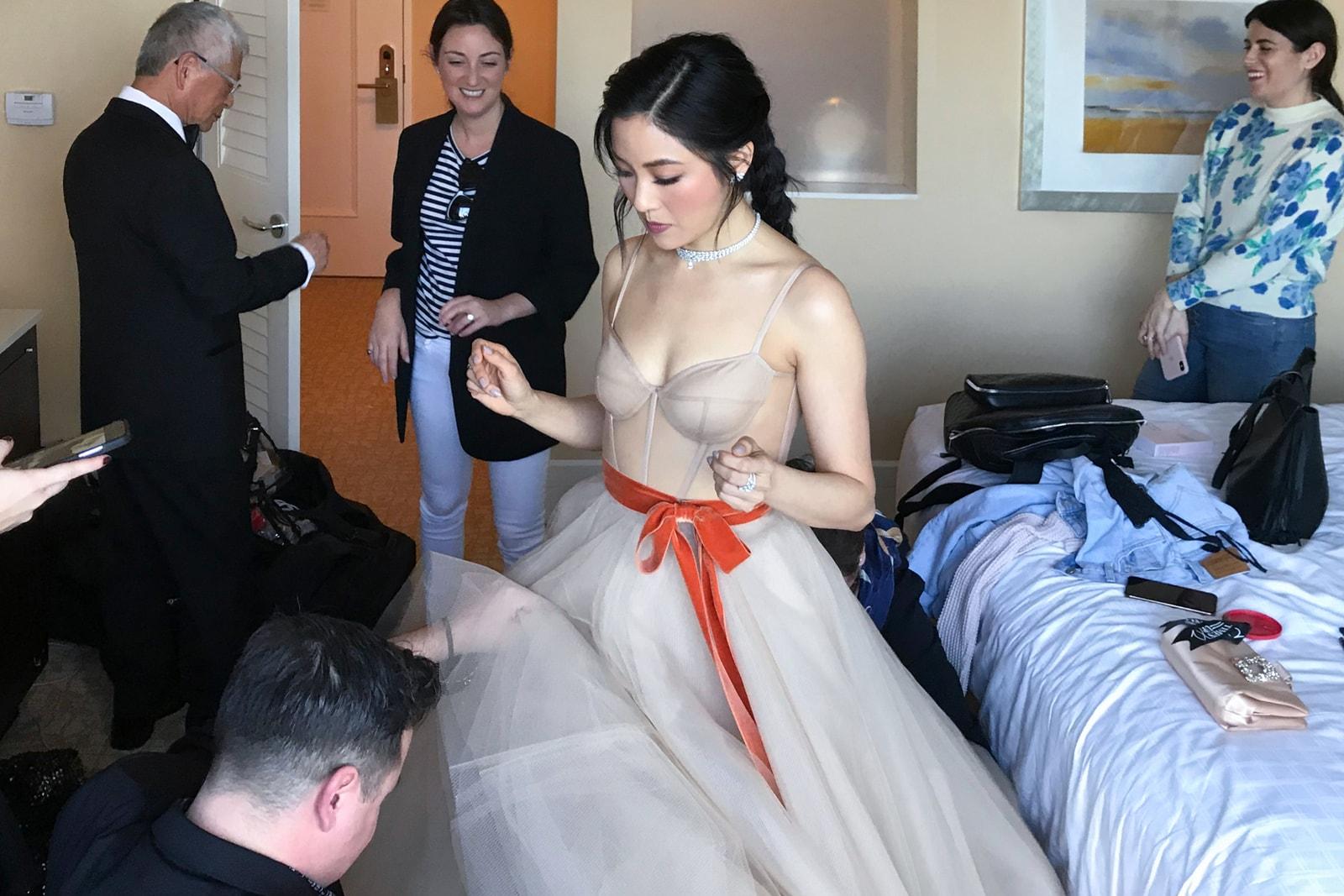 Constance Wu Golden Globes 2019 Crazy Rich Asians Dress Vera Wang Beauty Makeup Get Ready