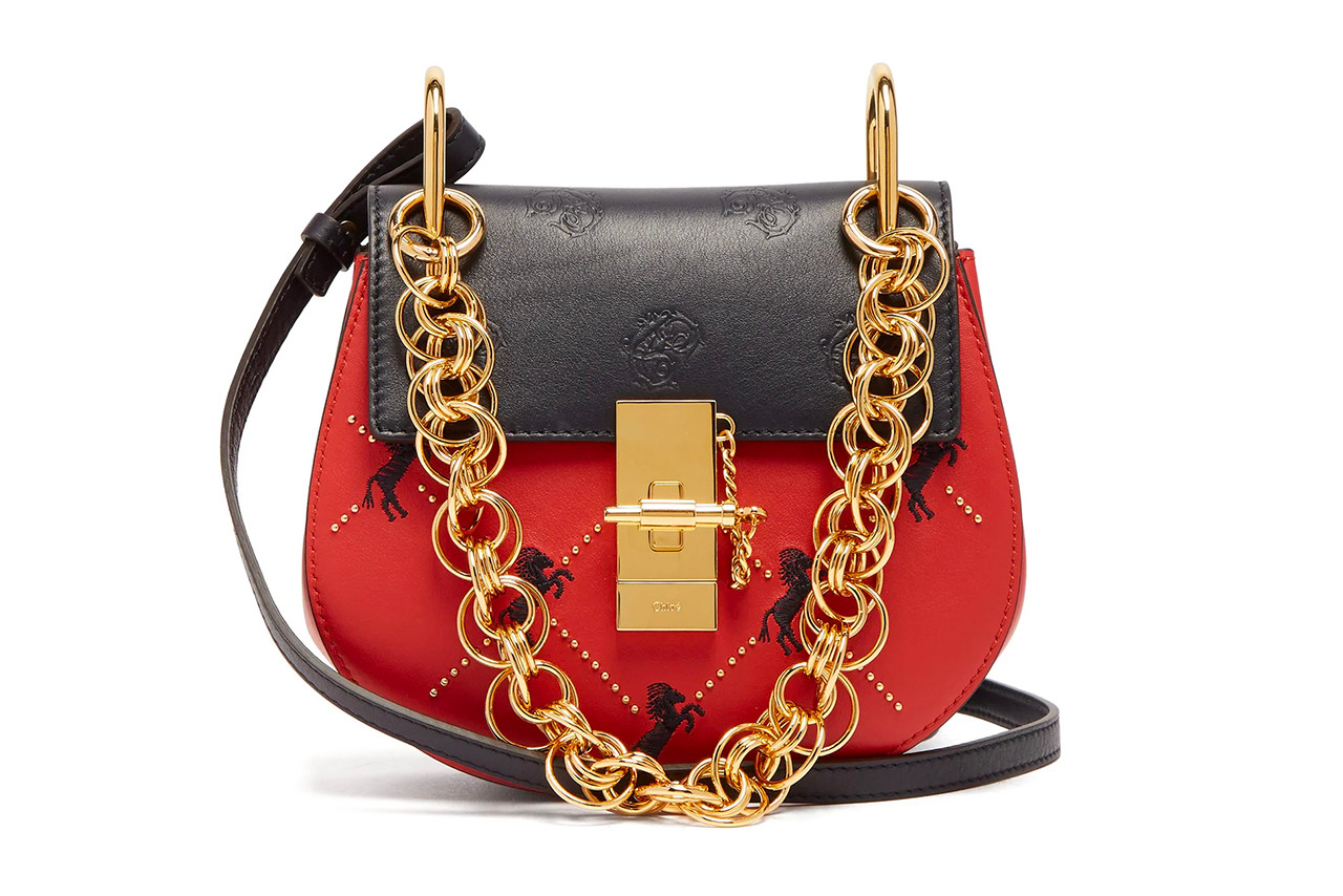 Balenciaga Bag Red Logo BB Chain Gold Street style fashion week