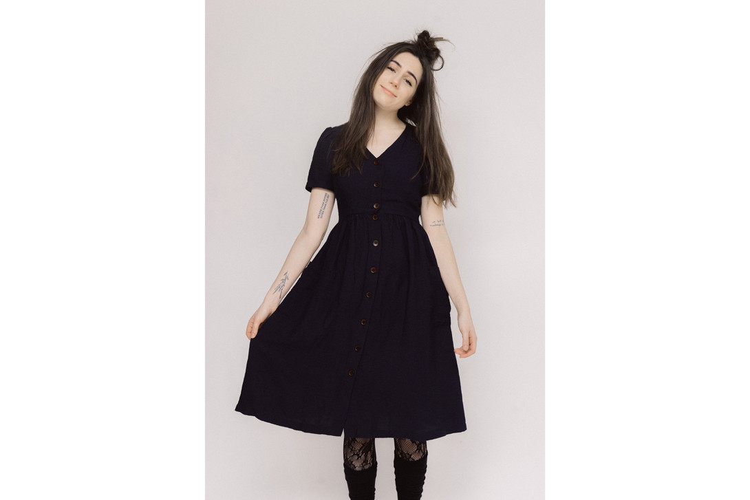 Dodie Dress Navy Boots Brown Tights Black