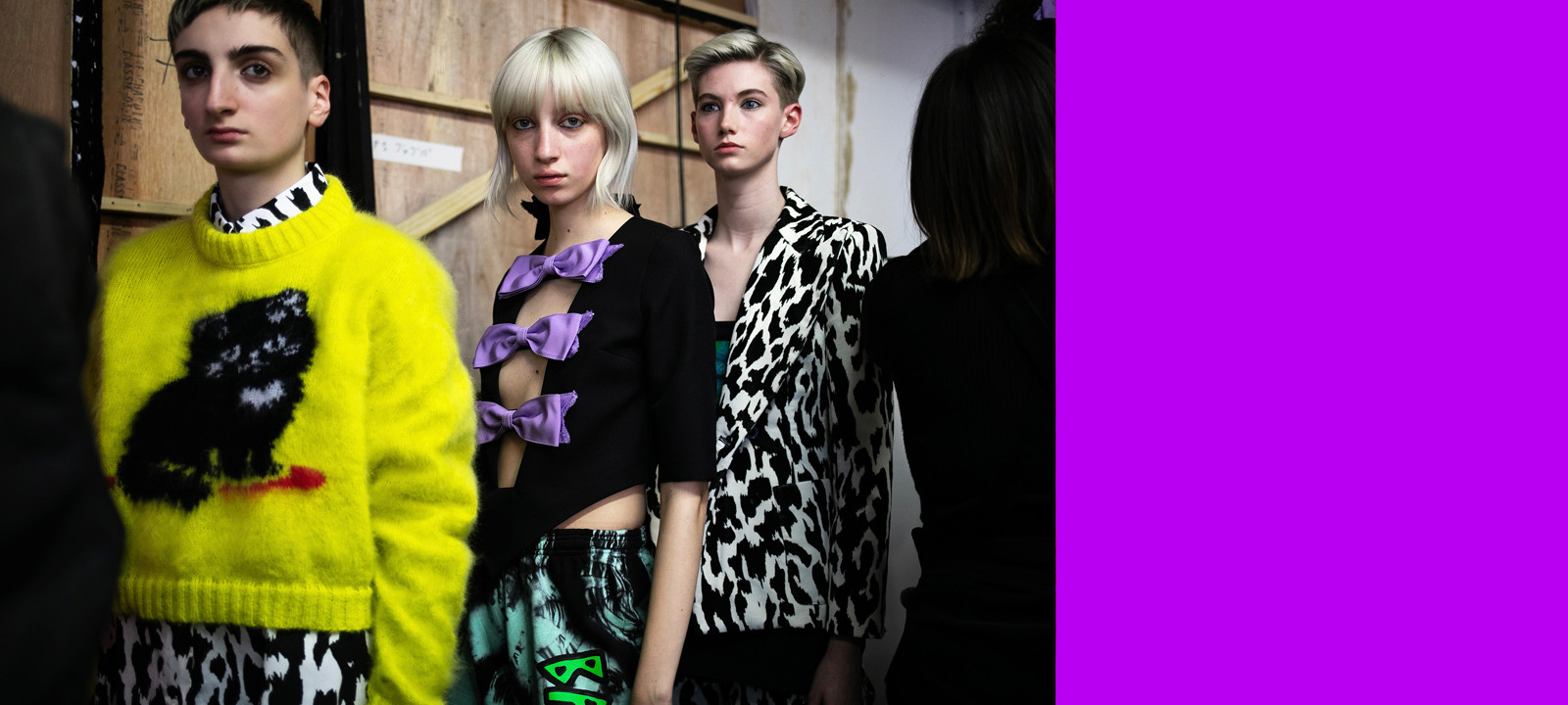 Ashley Williams London Fashion Week Backstage Fw19 Fall Winter 2019 Yellow Cat Sweater Purple Bows