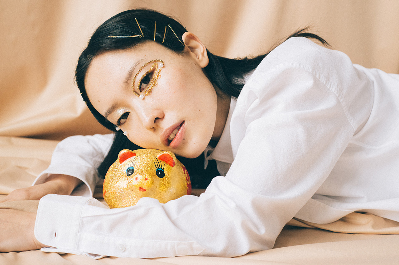 Chinese Lunar New Year Beauty Makeup Editorial Model Year of the Pig Fashion Asian