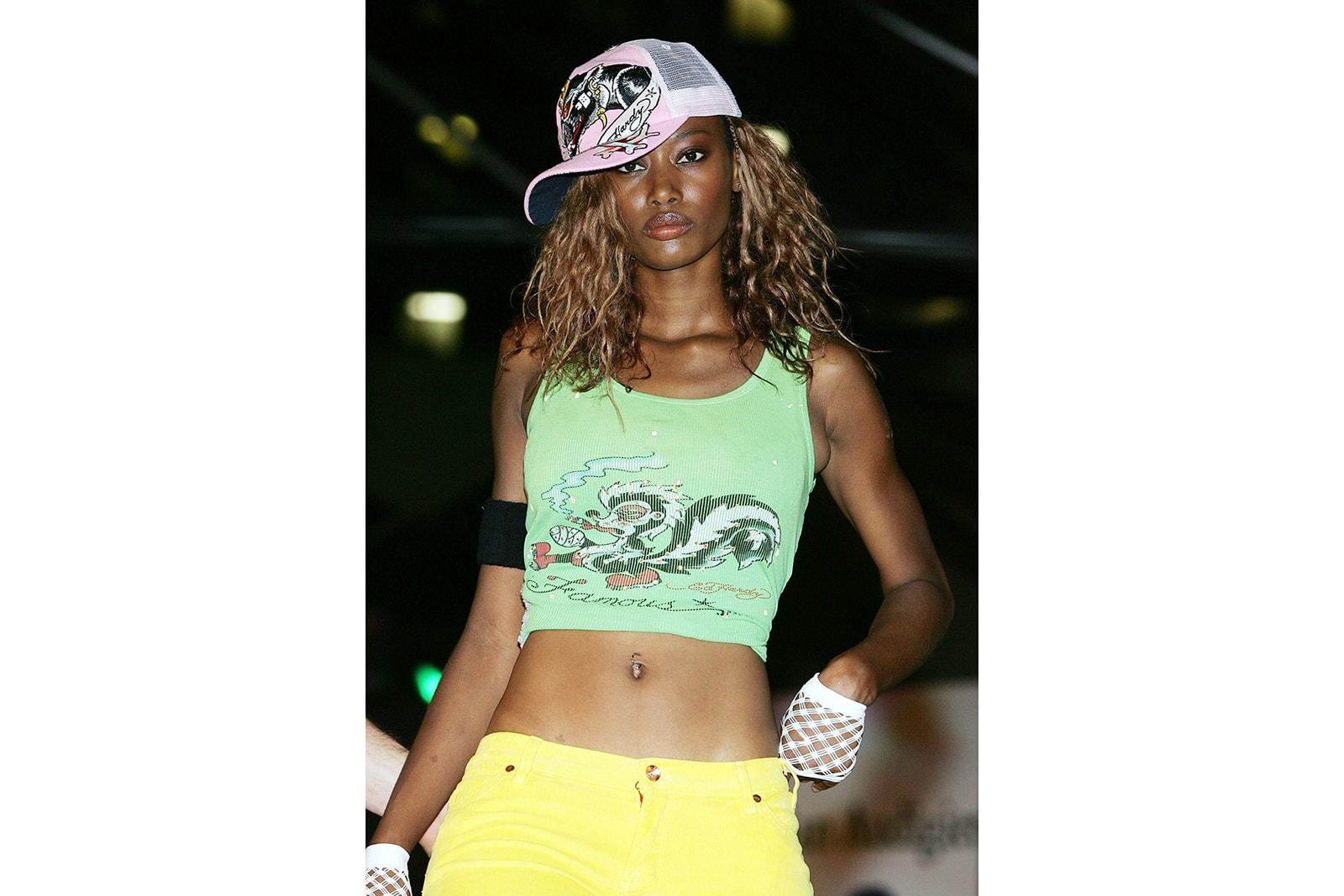 90s 00s fashion brands comeback nostalgia Baby Phat Ed Hardy L.A.M.B Rocawear FUBU Russell Athletics Karl Kani