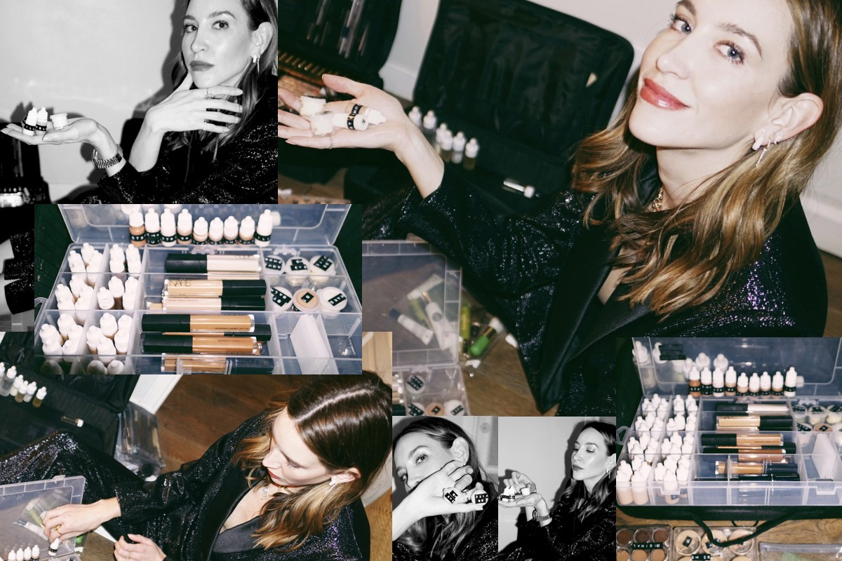 Nikki DeRoest Paris Fashion Week FW19 Fall Winter 2019 Celebrity Makeup Artist Dior Collage Beauty Products Backstage Palettes Pink Red