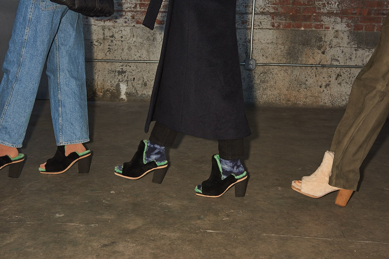 Ugg eckhaus latta uggs collaboration fall winter 2019 runway show backstage footwear heels mules