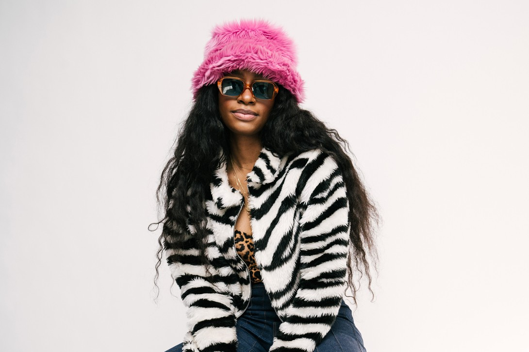 Kari Faux Zebra Jacket Black White Hat Pink