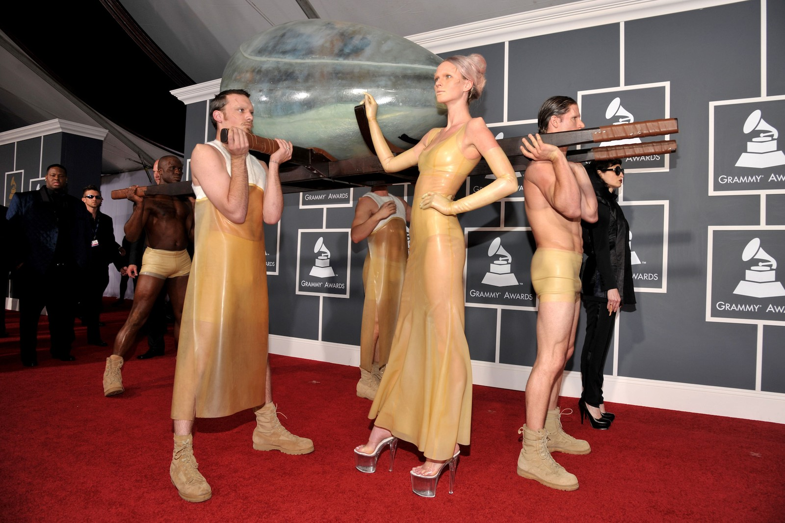 Lady Gaga's Best Fashion Looks and Outfits Grammys Oscars Meat Dress Space Egg Hair Bow