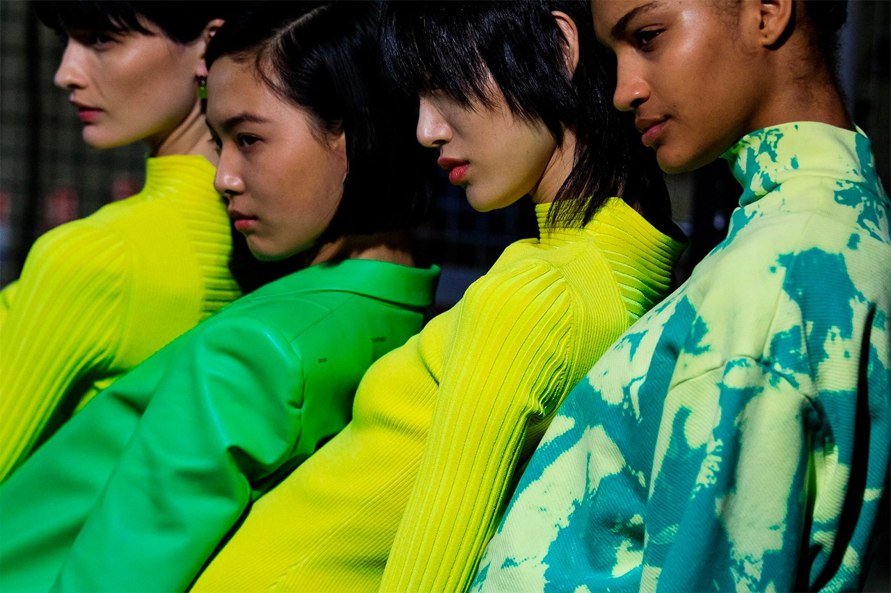 Off-White Virgil Abloh FW19 Fall Winter 2019 Paris Fashion Week Runway Show Catwalk Backstage Sora Choi Models Korean Asian Green Yellow