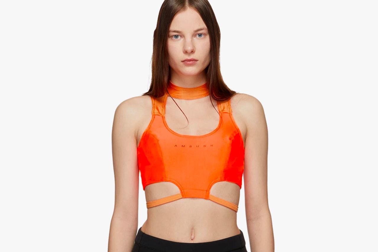 AMBUSH Waves Lycra Crop Top Neon Green Pink Orange Fluorescent Yoon Ahn Verbal Spring Summer 2019 Logo