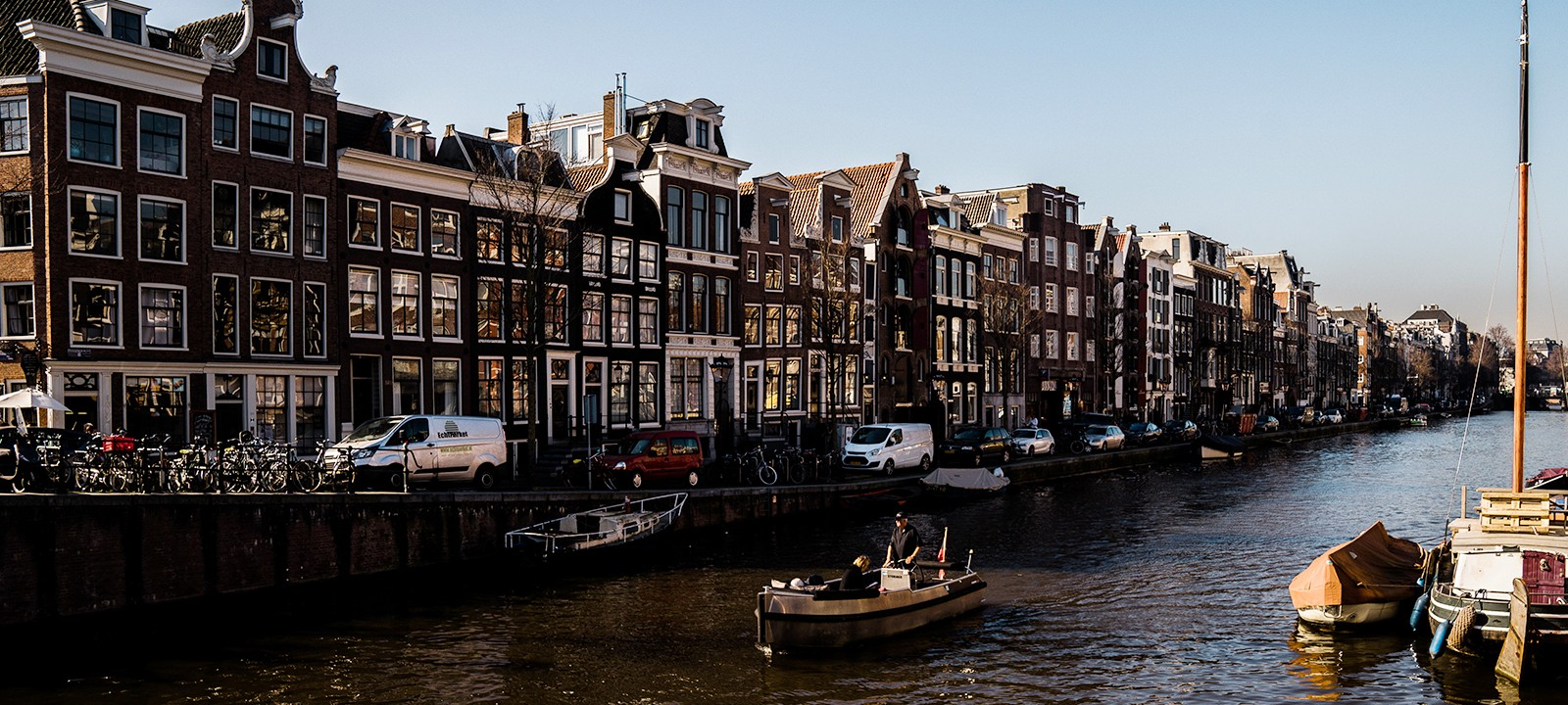 Amsterdam The Netherlands Dutch Canal Houses River Boats Scenery Travel