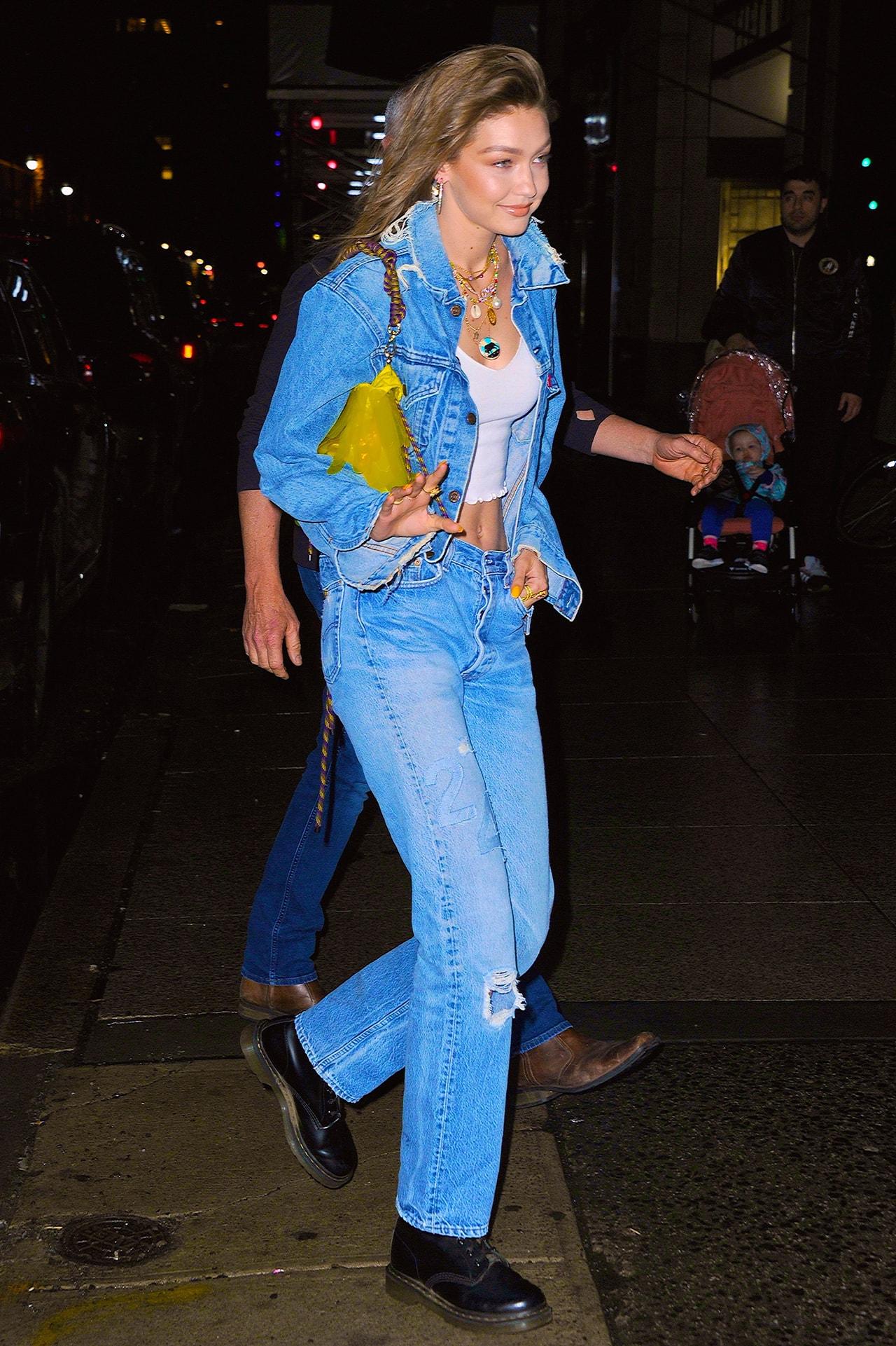 Gigi Haidid Model Supermodel Fendi Puffer Jacket Zucca FF Logo Red Sunglasses Off Duty Style Outfit Fashion