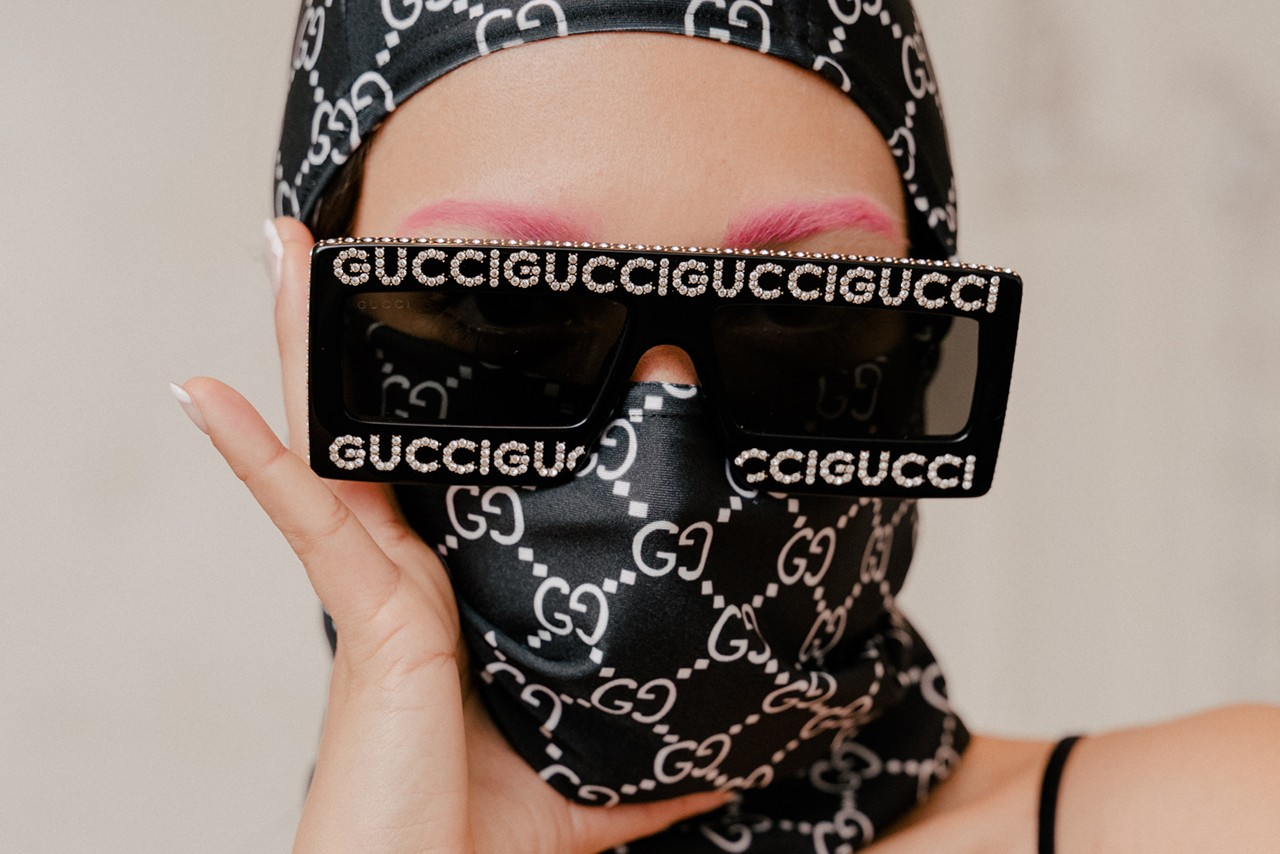 Mia Carucci Gucci Bootleg Balaclava Frankie Collective Sunglasses Bejeweled Logo Pink Eyebrows Brows Zebra Print Dress McQ Alexander McQueen Animal Print Trend Spring Summer 2019 Editorial LA Los Angeles DJ