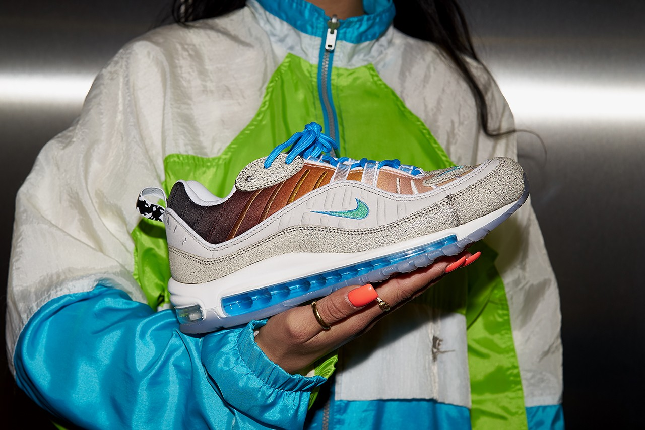Nike Gaby Seranno Air Max 98 La Mezcla Editorial Frankie Collective Vintage Rework Windbreaker Swoosh Sara Gourlay Gabrielle