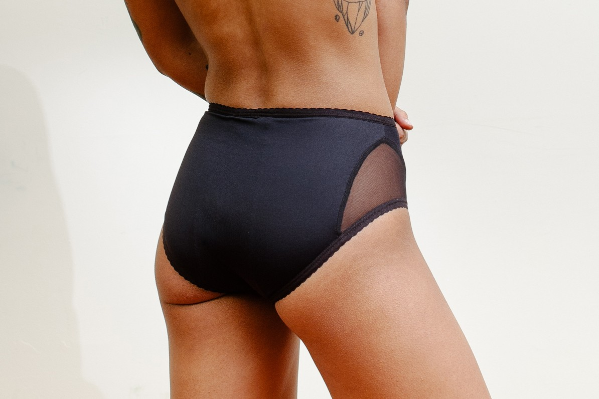 Period-Proof Underwear Lingerie Brand Revol Girl Panties Black Mesh High Waisted Tianna Franks Vancouver Canada Sara Jonsdottir