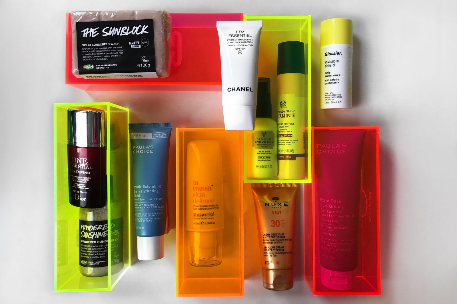 Best Sunscreen Face and Body Skincare SPF Chanel Dior Glossier Lush The Body Shop Paula's Choice