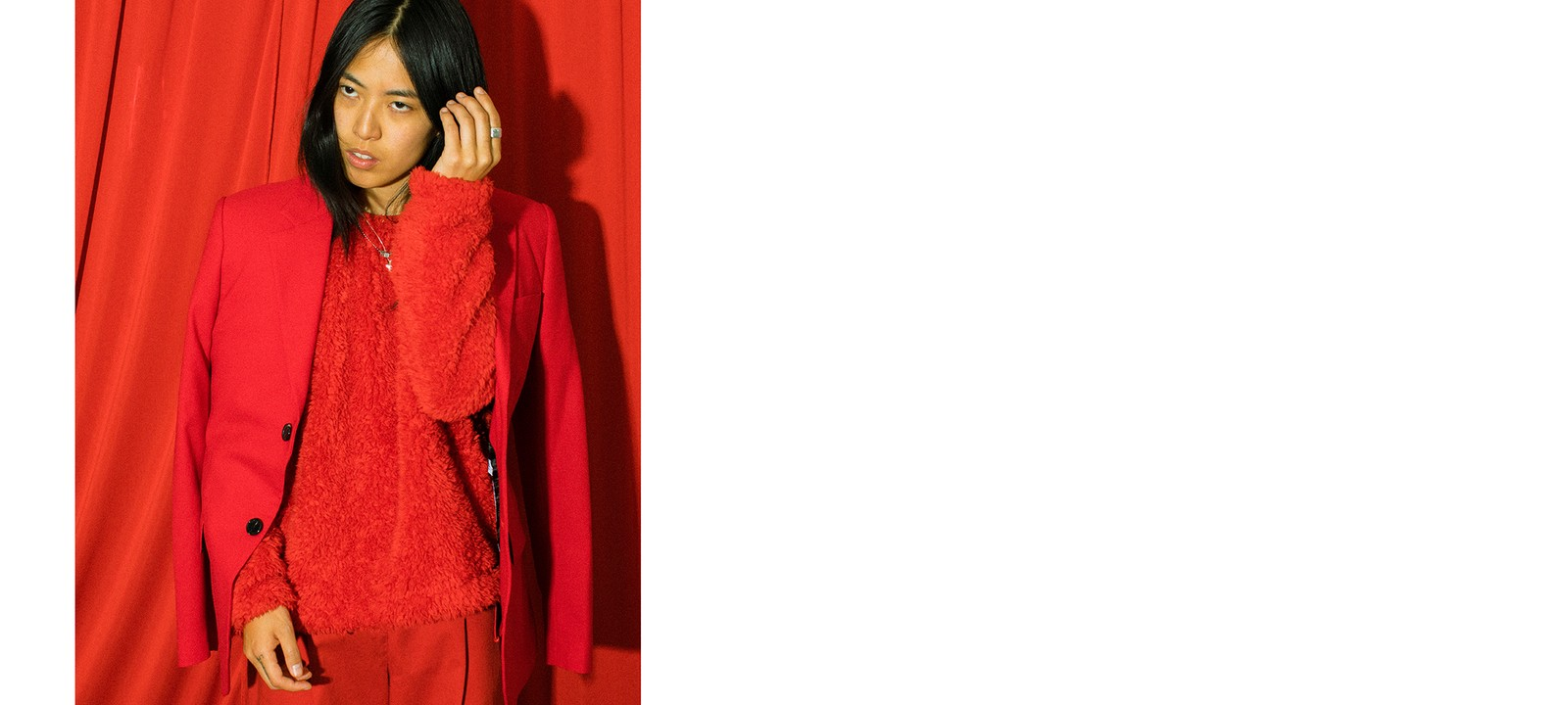 Deb Never WEDIDIT Artist LA Los Angeles Red Raf Simons Suit Blazer Jacket Editorial