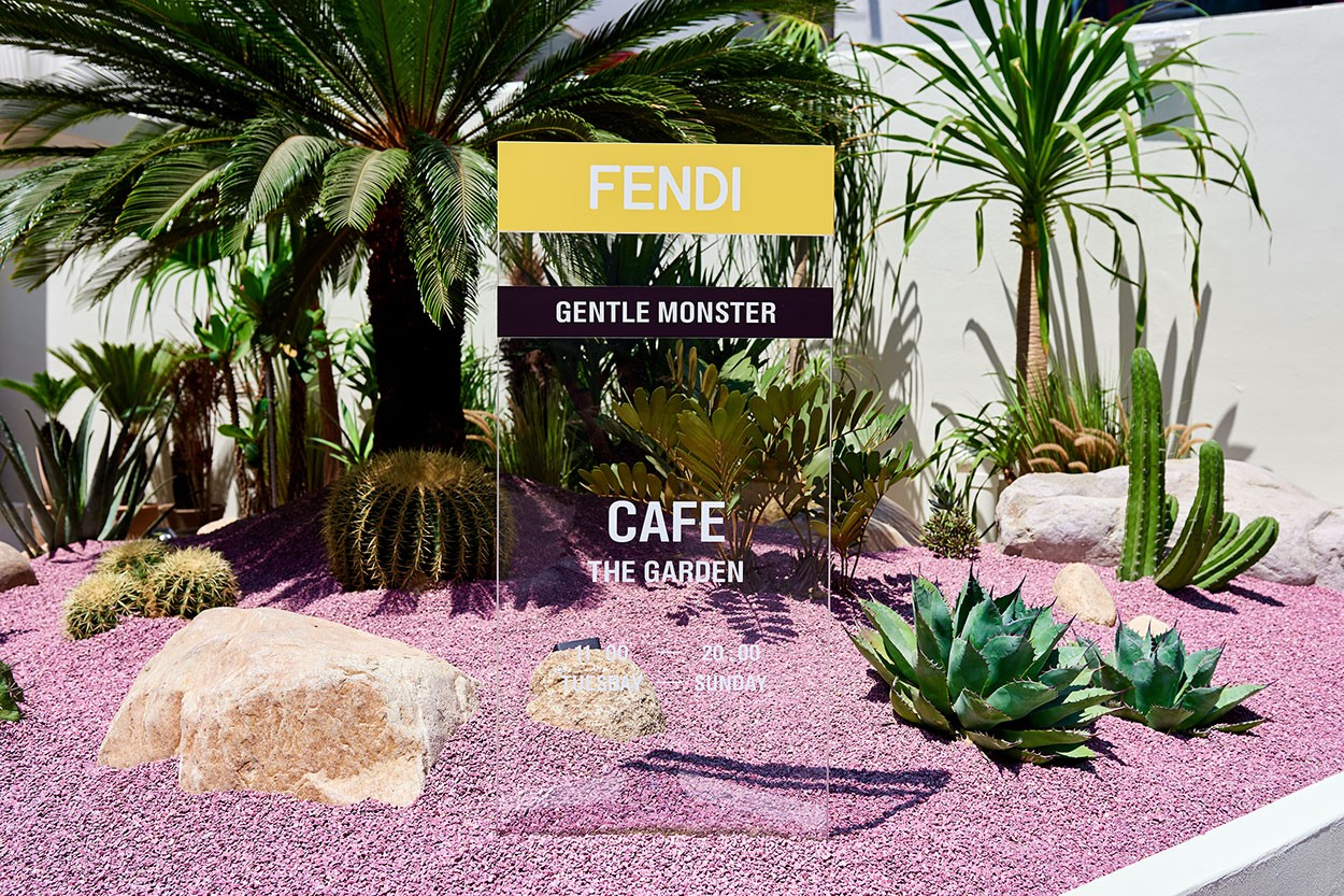Gentle Monster x Fendi Sunglasses Capsule Collection Seoul Pop Up Garden Cafe