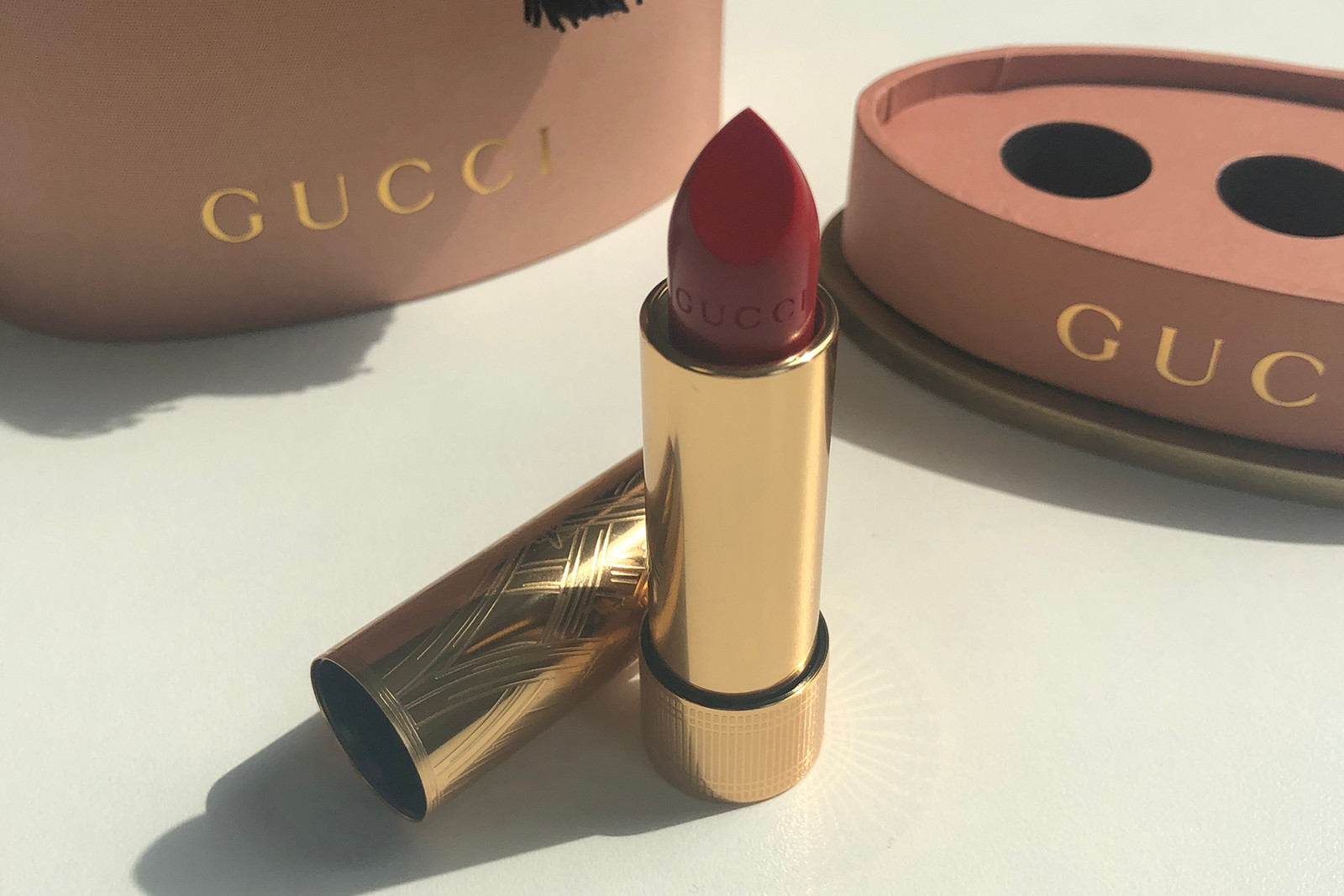 Gucci Beauty Lipstick Rouge a Levres Baume Satin Voile Review Goldie Red
