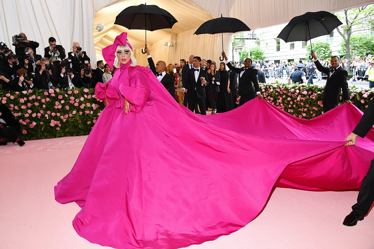 Lady Gaga Met Gala 2019 Celebrity Red Carpet Look Camp Notes on Fashion Brandon Maxwell Pink Dress Lingerie Underwear Black Bra