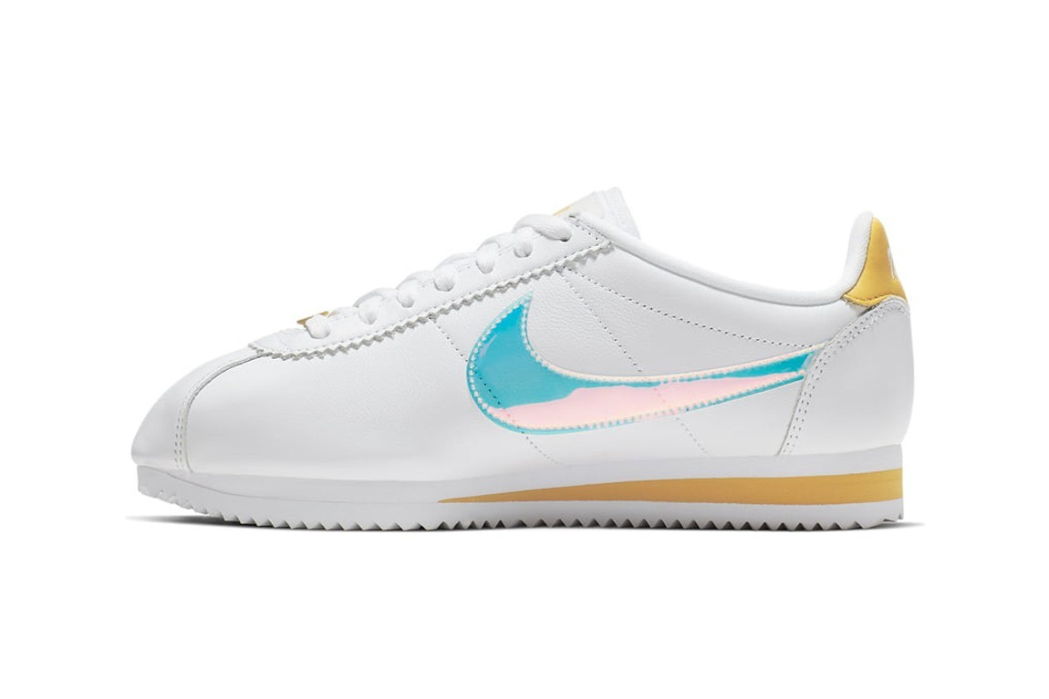 Best Nike Cortez Sneakers To Buy Summer 2019 Pink White Classic Iridescent Metallic Swoosh Shoe Trainer