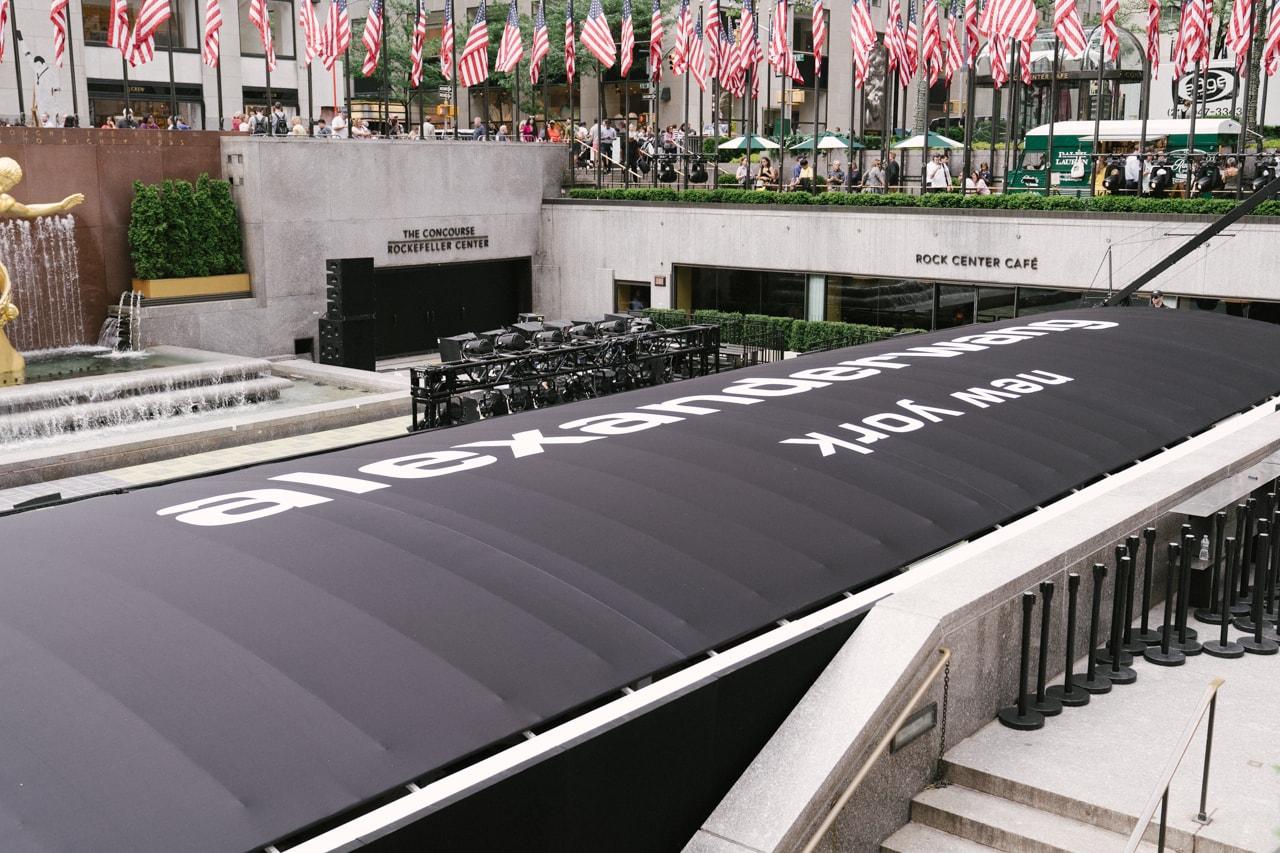 Alexander Wang Spring Summer 2020 Runway Show Rockefeller Center New York American Flag America Kaia Gerber White Dress Fashion