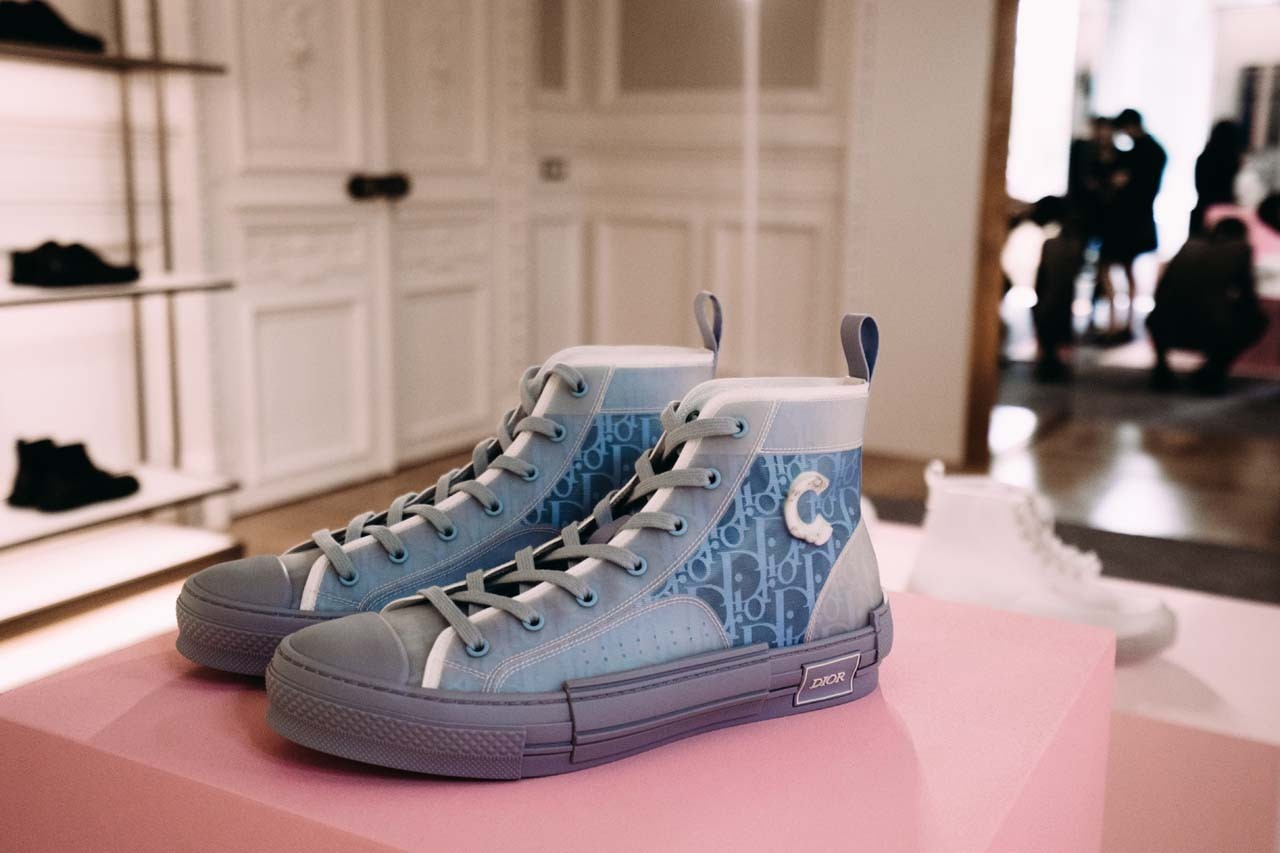Dior Logo Sneakers Shoes Footwear Kim Jones White Transparent Clear Sneaker High Top Converse Spring Summer 2020 Men's Paris Fashion Week Showroom