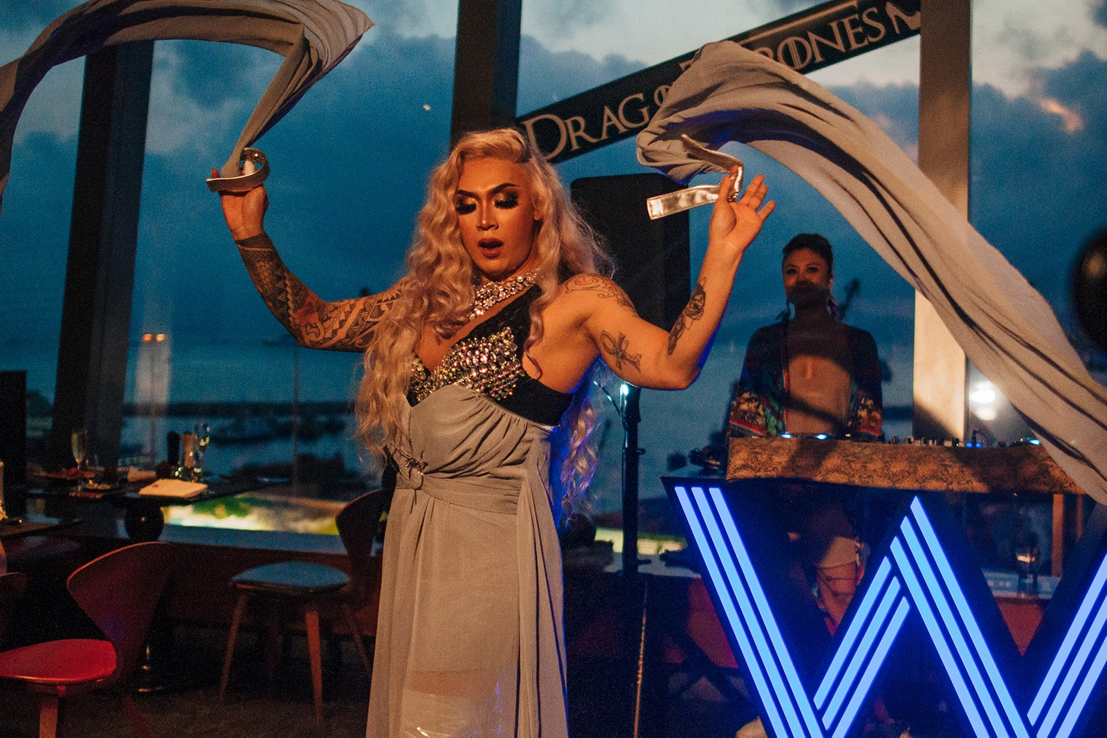game of thrones drag queen brunch buffet w hotel hong kong all you can eat sansa stark daenerys targaryen arya cersei lannister food dessert seafood lgbtq pride month dj weekend party