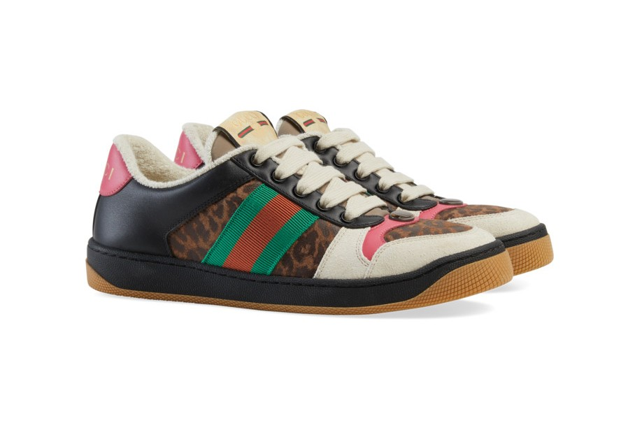 Gucci Screener Leopard Print Sneaker Green White Brown Red Dress Maroon Tights Yellow Pants Tan