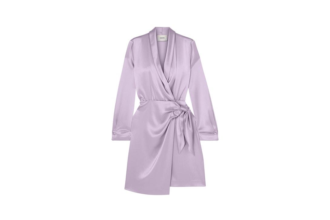 GANNI Floral Print Silk Blend Satin Maxi Dress Pink Nanushka Siwa Wrap Purple Mansur Gavriel Embroidered Stretch Linen Orange