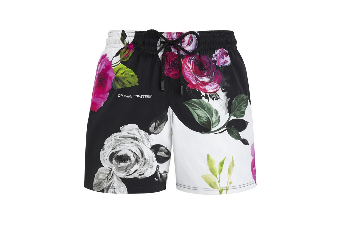 Vilebrequin x Off White Collaboration Swim Shorts Floral Black White